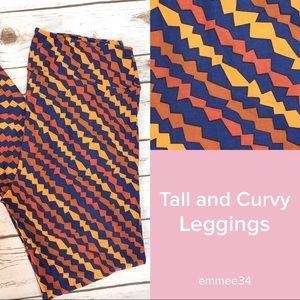 Lularoe Leggings TC blue yellow orange NWOT 12-18